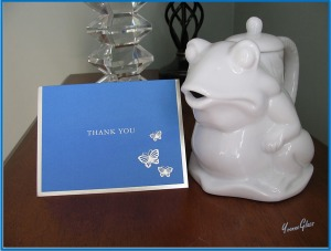 It's a froggy cream jug! And a Thank You card from my daughter Sharon. A tear jerking moment.